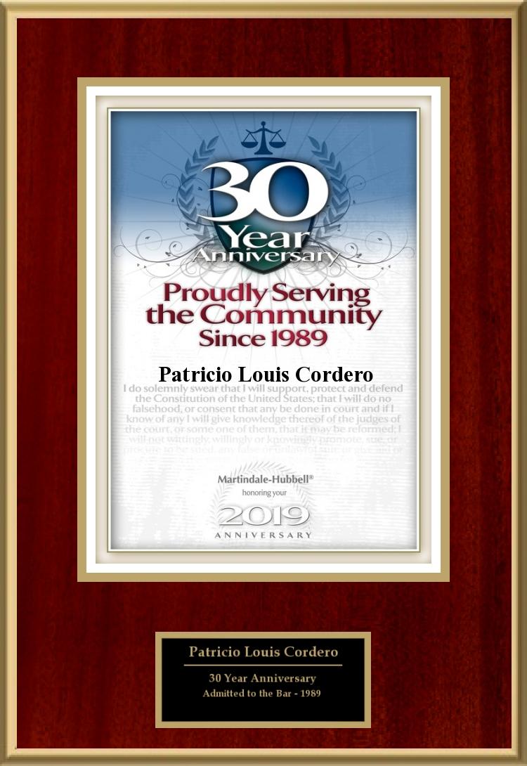 30 Year Anniversary Patrick Cordero