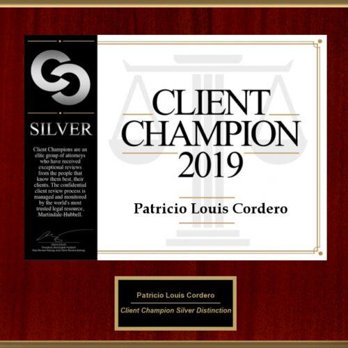 Client Champion 2019 Patrick Cordero