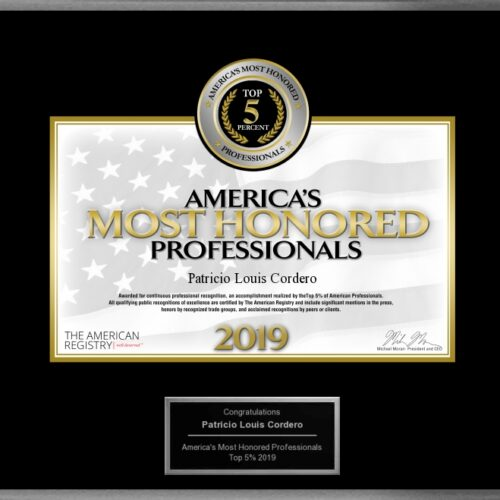 America's Most Honored Professionals 2019 Patrick Cordero